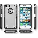 RAMEER Protector Funda Case Uso rudo para iPhone 5 5s SE 6 6s 6 Plus 7 8 7 Plus 8 Plus X XS XR XS MAX (5 / 5s, Plata)