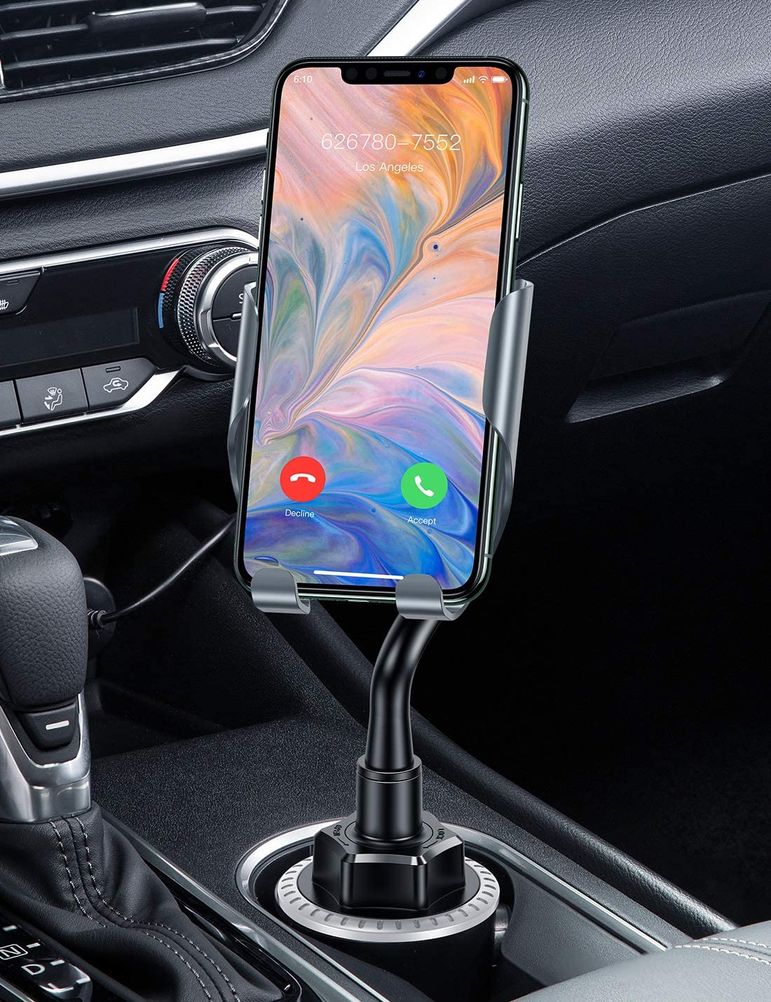 VICSEED Cup Holder Phone Mount, Easy and Sturdy Cup Phone Holder for Car, Fully Adjustable Car Phone Mount Fits iPhone 12 Pro Max Mini SE 9 11 Pro Max Xr Xs Max 8 Plus, Samsung S20 S10 Note 10 etc.