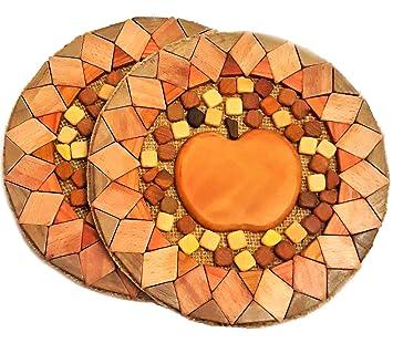 Salvamanteles de madera para platos calientes, juego de 2, hecho a mano por Apple, para decoración ...