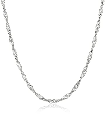Amazoncom 14k White Gold Solid Singapore Chain Necklace 2mm 18