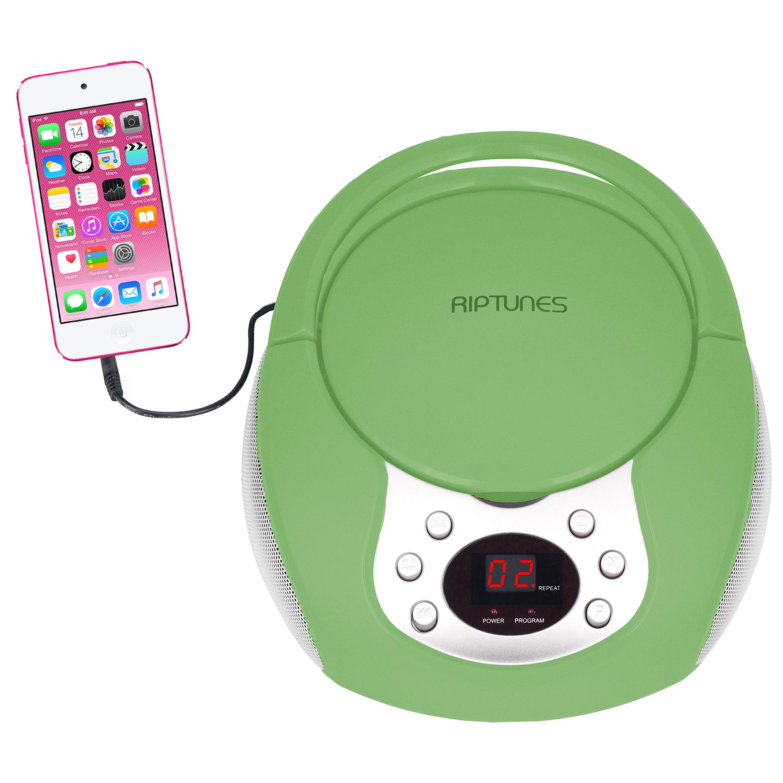 Riptunes Portable CD Player with AM FM Radio Potable radios Boom Box with Aux Line-in, Green
