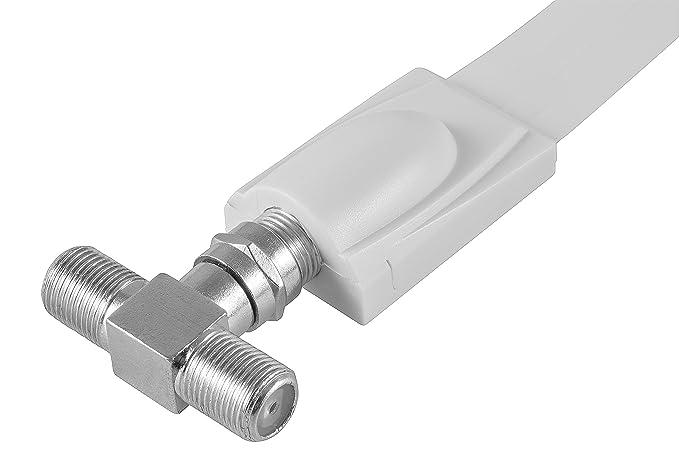 ... en T para conexión de televisión por satélite (2 conectores F hembra a 1 conector F macho), divisor de antena de adaptador F para cable coaxial, ...