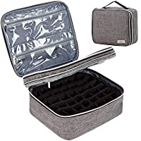 HOMEST Double Layer Essential Oil Storage Bag, Holds 42 Bottles (10ml ), Portable Travel Case for Roller Bottles and Other Accessories, Grey (Bag Only)