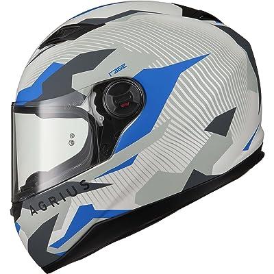 Agrius Rage Tracker Motorcycle Helmet XXL Matt Pearl White/Blue