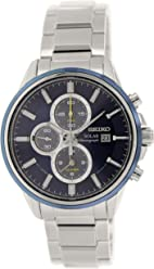 Seiko Solar Chronograph Blue Dial Stainless Steel Mens Watch SSC253 by Seiko Watches