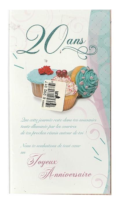20 Años Cumpleaños Feliz tarjeta doble con sobre (20 A ...