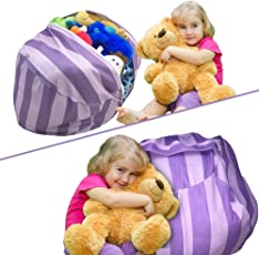 Stuffed Animal Storage Bean Bag Chair | Perfect Storage Solution For Extra Blankets / Pillows / Covers / Towels / Clothes | by Wonderfix (Purple)