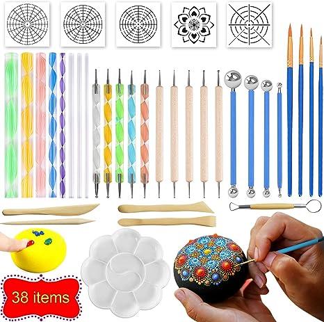 Mandala Dotting Tools 34 PCS Dotting Tools Stencil Mandala Painting Tool Kits Brushes Paint Tray for Painting Rocks Coloring Drawing and Drafting Art Supplies