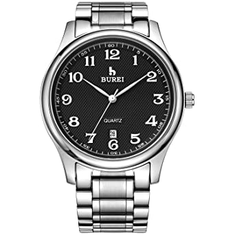 87bb3d635a3 BUREI Men Watch Date Quartz Wrist Watch with Classic Arabic Numbers Analog  Dial and Silver Stainless