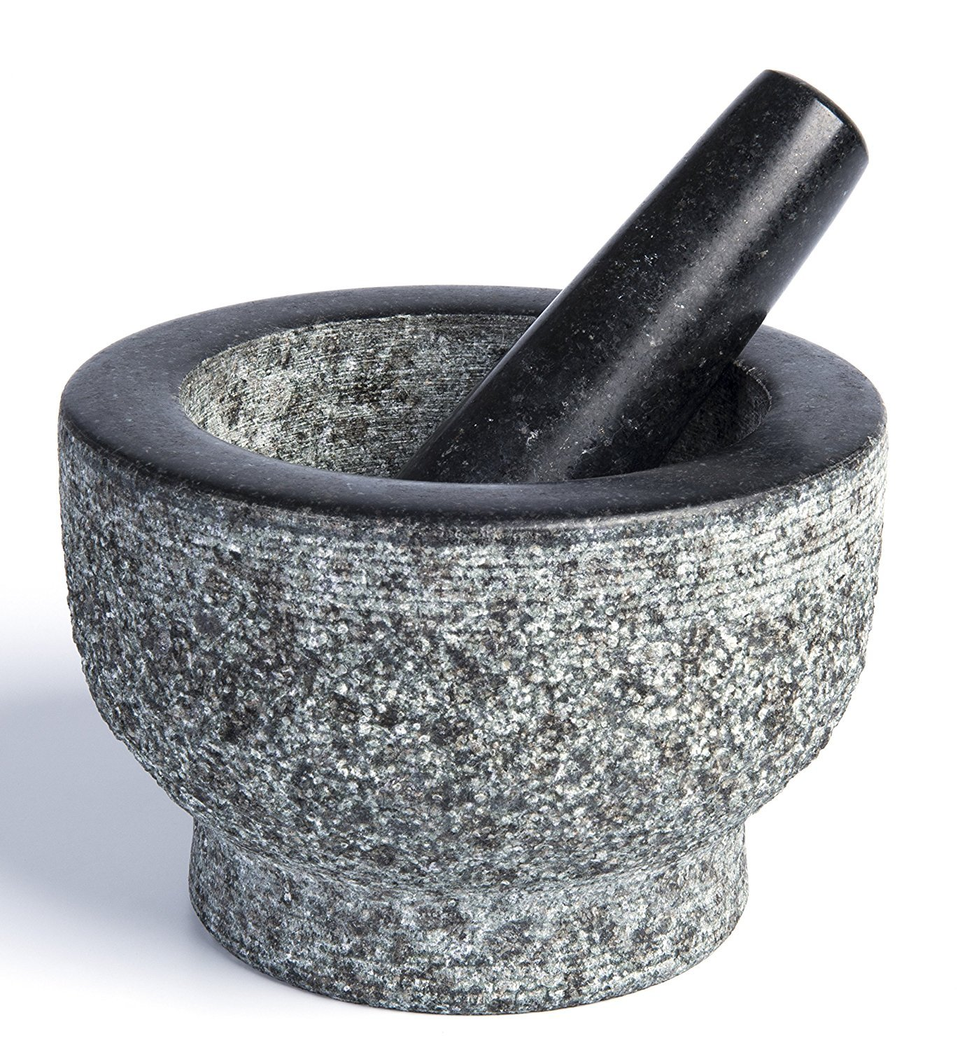 Granite Mortar and Pestle by HiCoup - Natural Unpolished, Non Porous, Dishwasher Safe Mortar and Pestle Set, 6 Inch Large HiCoup Kitchenware HK-06