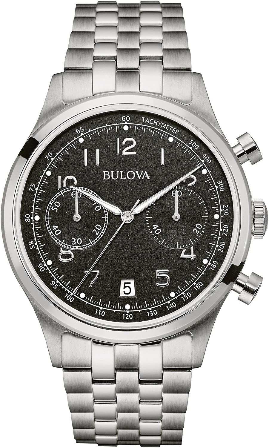Bulova Classic Black Dial Stainless Steel Men s Watch 96B234