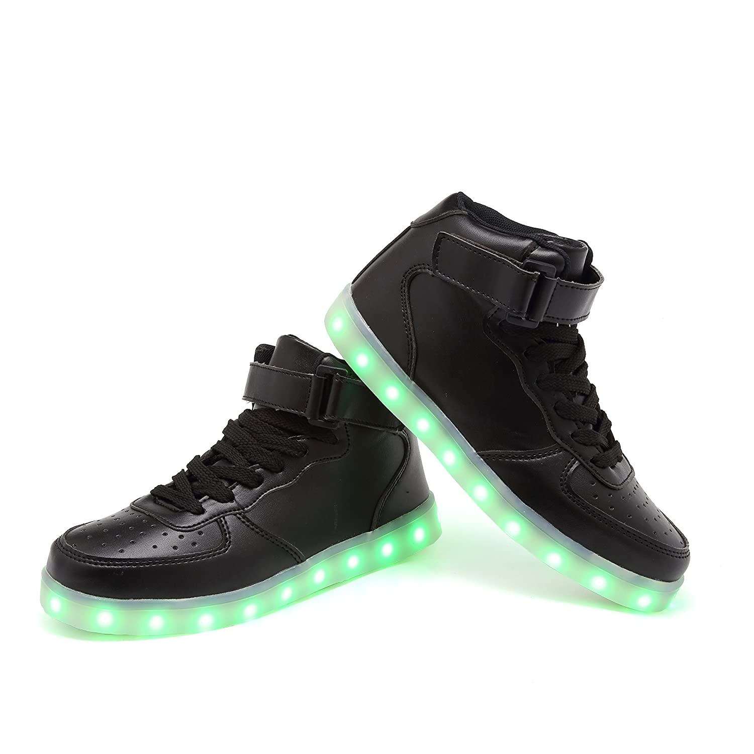 2 M US Big Kids, Black KEESKY High Top Led Light Up Sneakers for Toddler Kids Boys Girls Ankle Boots Flashing Walking Shoes