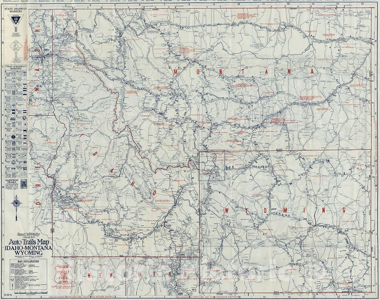 Amazon Com Historic Map Auto Trails Map Idaho Montana