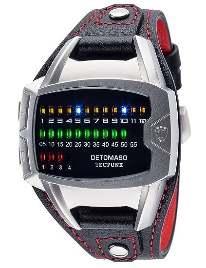 Reloj de pulsera Tecpunk, para hombre con caja de acero inoxidable plateada y correa de piel auténtica, de DETOMASO Reloj digital binario con indicadores ...