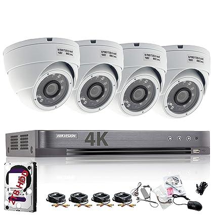 HIKVISION Sistema de 4 cámaras de seguridad Sony 2,4 MP, DVR, 1080P