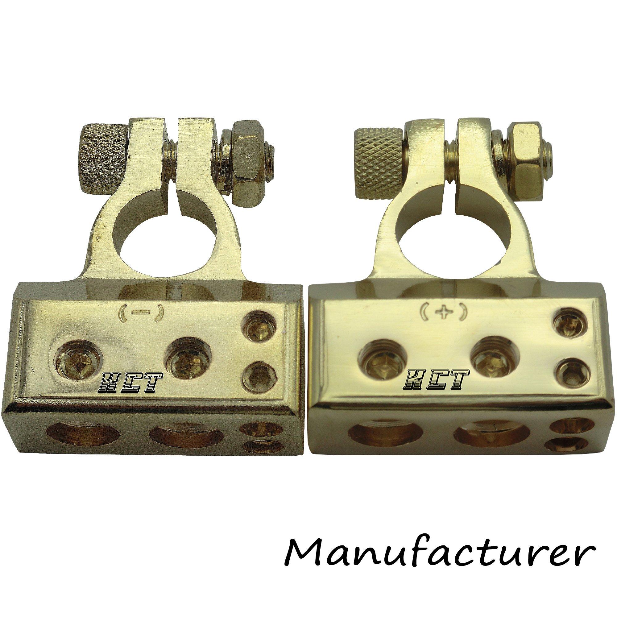 2pcs Battery Terminal 2x4ga+2x8ga Positive Negative Gold Auto Car Audio Modification