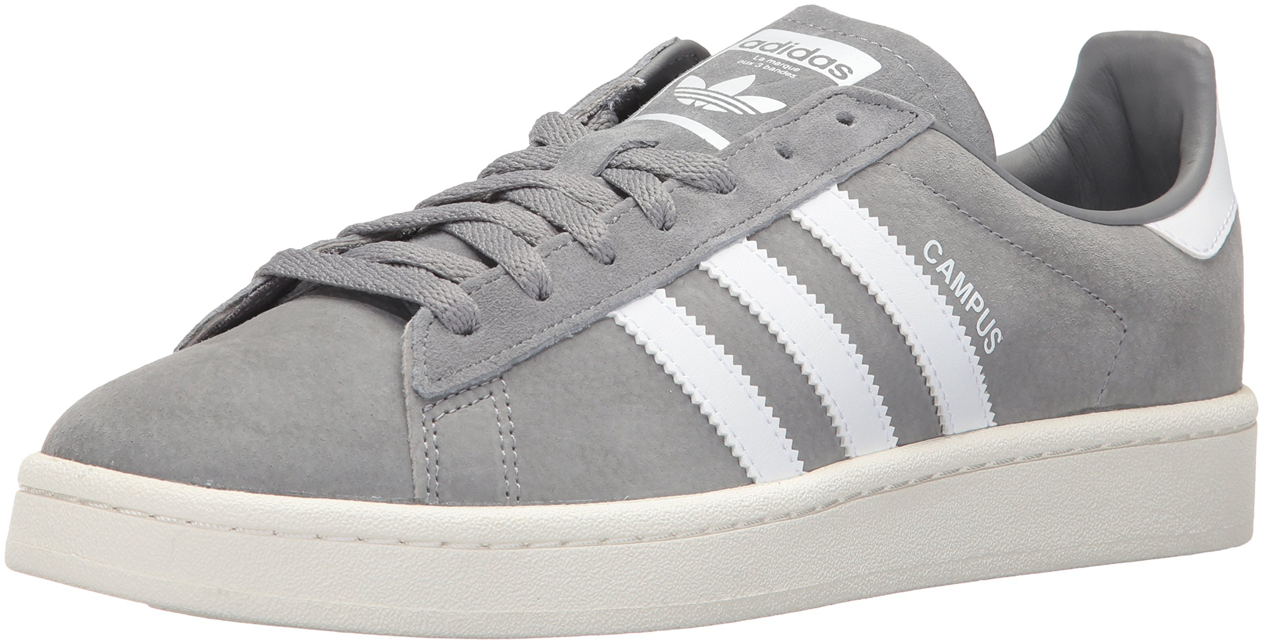 Adidas Men's Campus Sneakers, Grey Three/White/Chalk White, (10.5 M US)