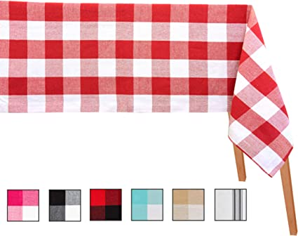 Checked Tablecloth Cotton Table Cloth Checked Tablecloths For Rectangle Tables Red Checkered Table Cloth Extra Large Rectangular Tablecloth Table Cloth 63 X 126 Checked Red And White Amazon Co Uk