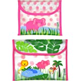 green sprouts Safari Sandwich and Snack Bag, Pink Elephant, 2 Count