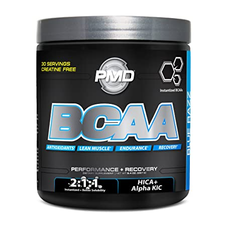 PMD Sports BCAA Delicious Amino Acid Drink for Performance and Recovery – Increase Muscle Function for Workout and Daily Energy – Blue Razz – 30 Servings