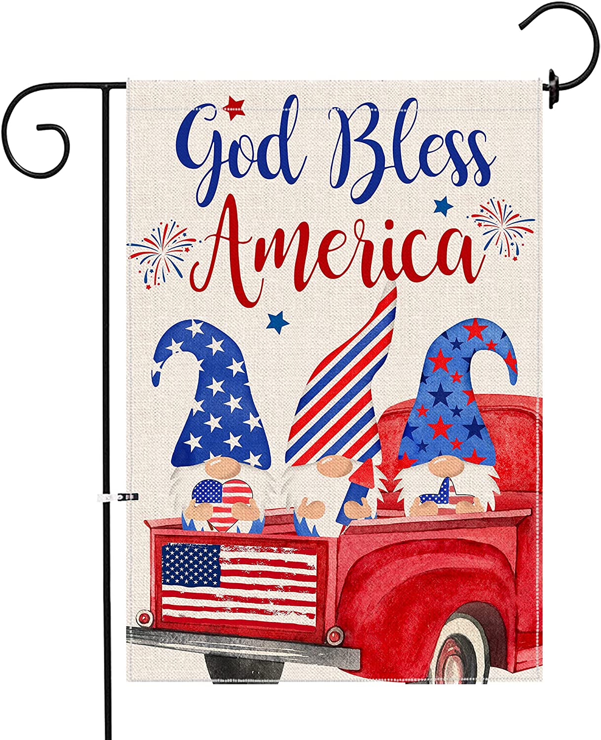 pinata 4th of July Garden Flag Patriotic 12x18 Double Sided Gnomes Holiday Fourth of July Independence Day Memorial American Flag USA Stars Stripes Decorations for Home Yard Outdoor Small Banner Sign