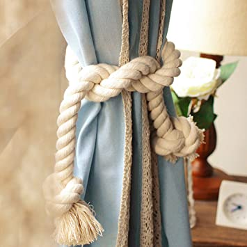 2x Amerikanisches Land Mode Baumwolle Dicke Große Kordel Vorhang