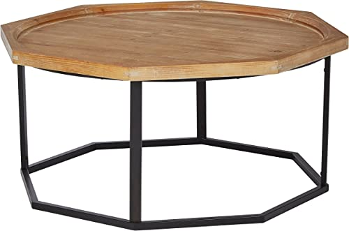 Stone Beam Aire Rustic Octagonal Fir Wood Coffee Table, 39.5 W, Black Natural