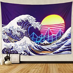 ZHOUBIN Waves Tapestry Aesthetic Wall Hanging, Japanese Katsushika Hokusai Ukiyo-e Vaporwave Tapestries for Home Decor, 59×79 Inches
