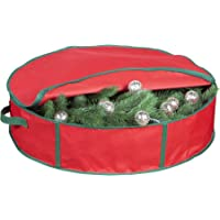 """Christmas Wreath Storage Bag - 25"""" x 6.5"""" Xmas Storage Organizer for Holiday Wreaths and Decoration Storage Container with Handles & Zipper"""