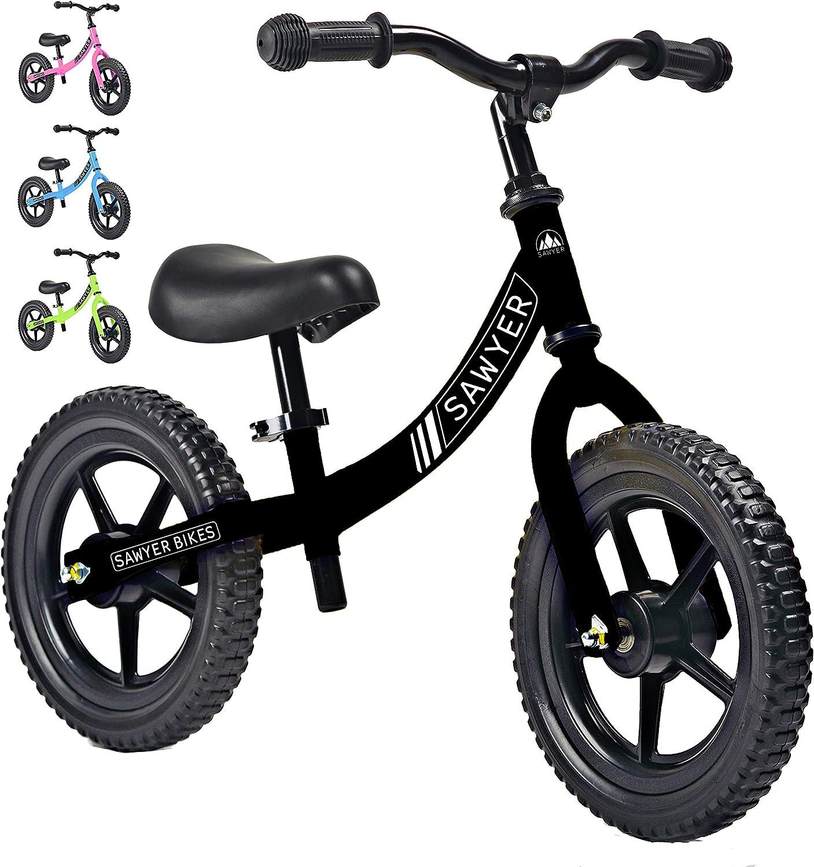 Sawyer - Bicicleta Sin Pedales Ultraligera - Niños 2, 3, 4 y 5 años (Negro)