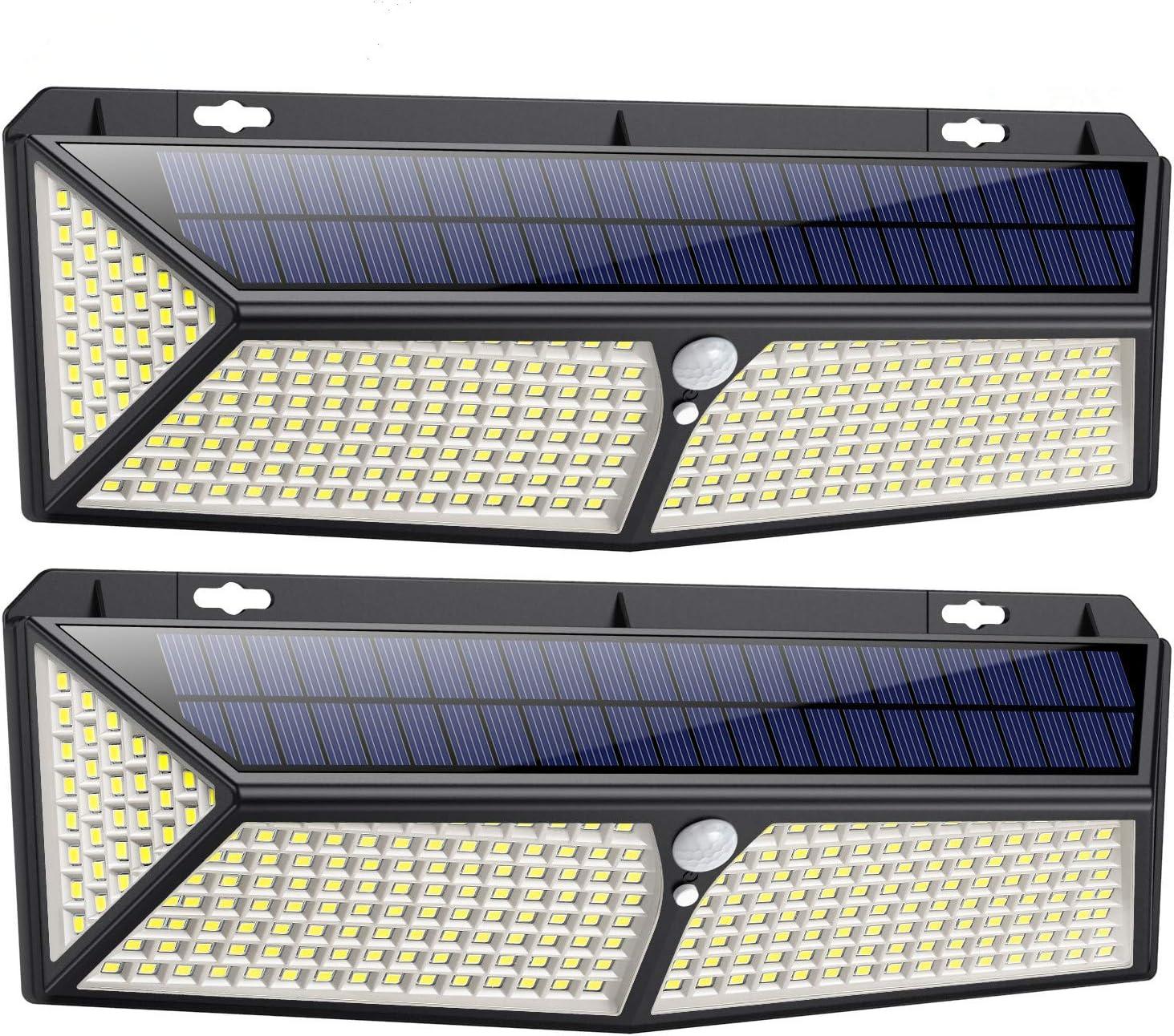 2X Solarleuchte 208LED Außenleuchte Solarlampe Fluter Garten mit Bewegungsmelder