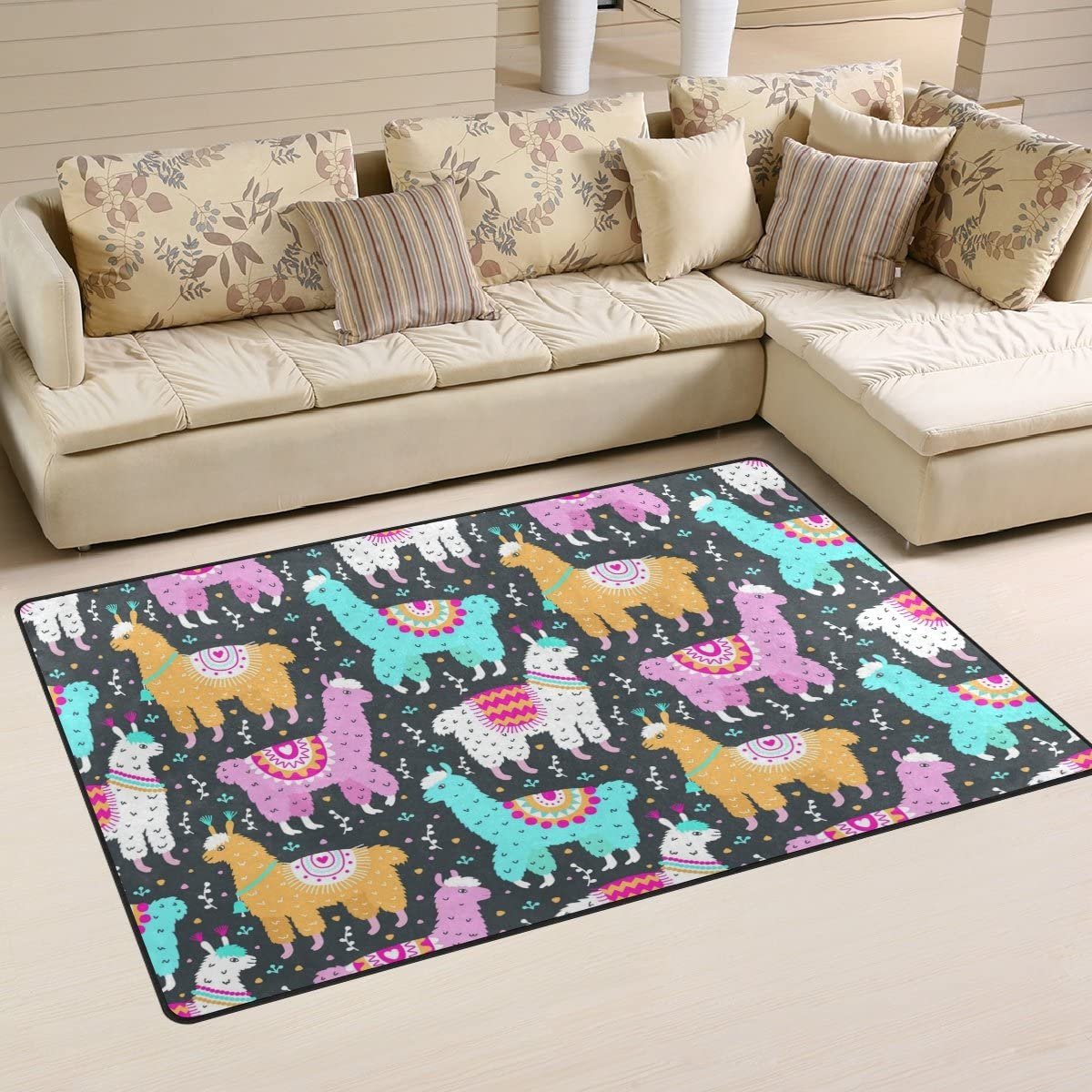 WOZO Fashion Llama Alpaca Unicorn Floral Print Area Rug Rugs Non-Slip Floor Mat Doormats Living Dining Room Bedroom Dorm 60 x 39 inches inches Home Decor