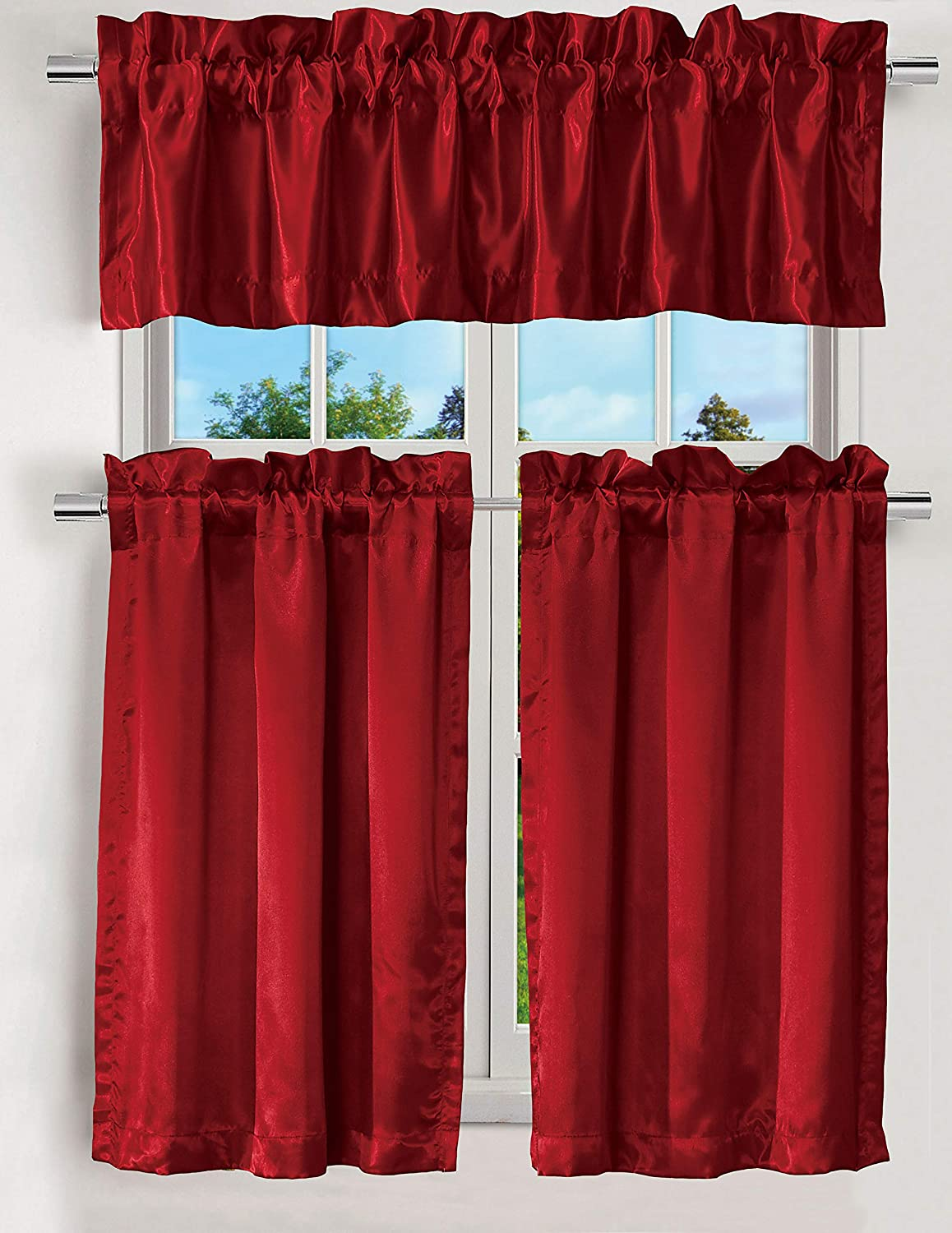 """EliteHomeProducts 3PC Kitchen Curtain Set, 1 Valance, 2 Tiers, Solid Color (Red, 36"""" Tiers, 14"""" Straight Valance)"""