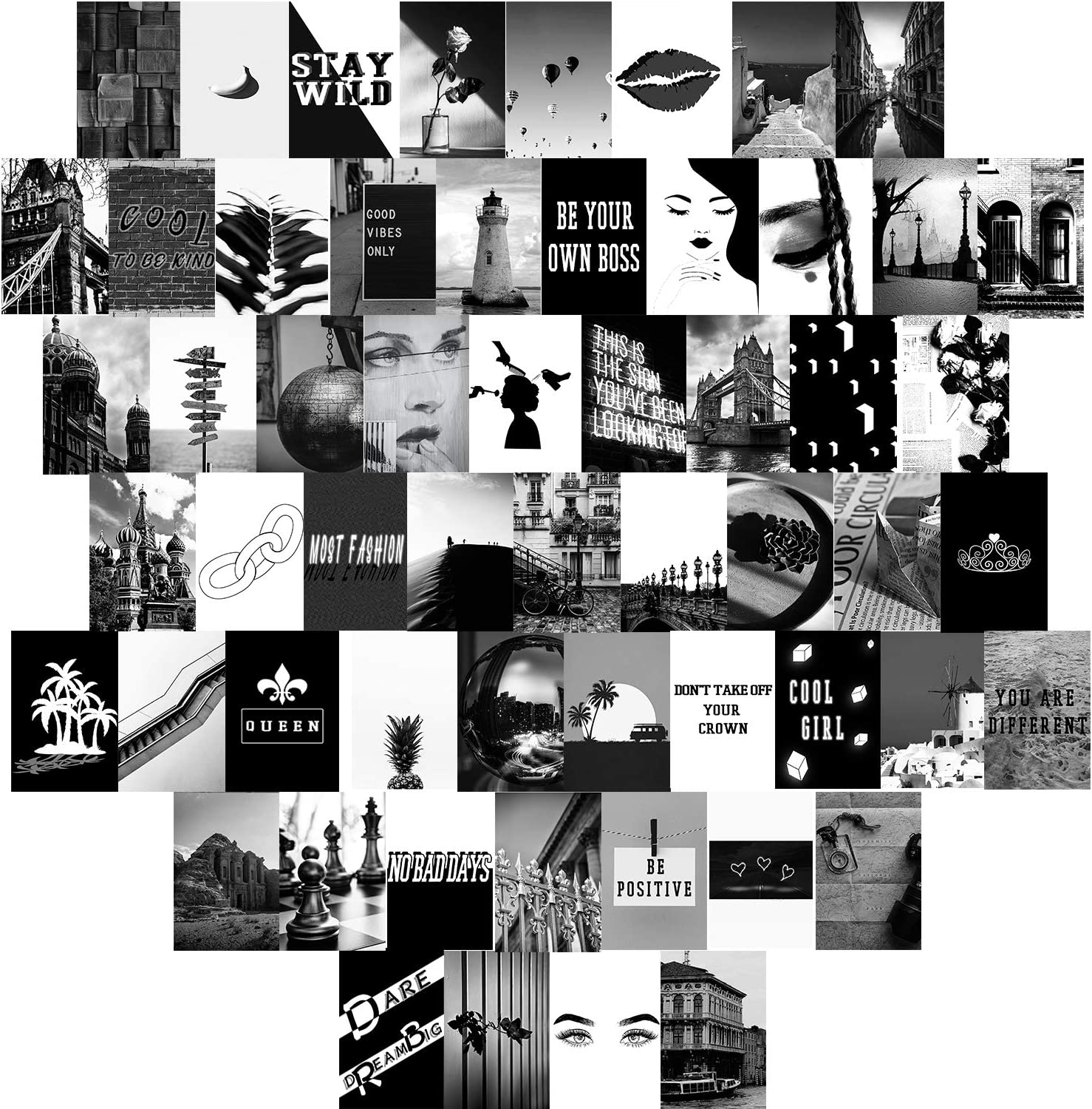 60 Pieces Wall Collage Kit Aesthetic Room Decor for Bedroom,Black and White Photo Art Pictures Collage Kit for Teen Girls and Women,4x6 inch Photo Collection