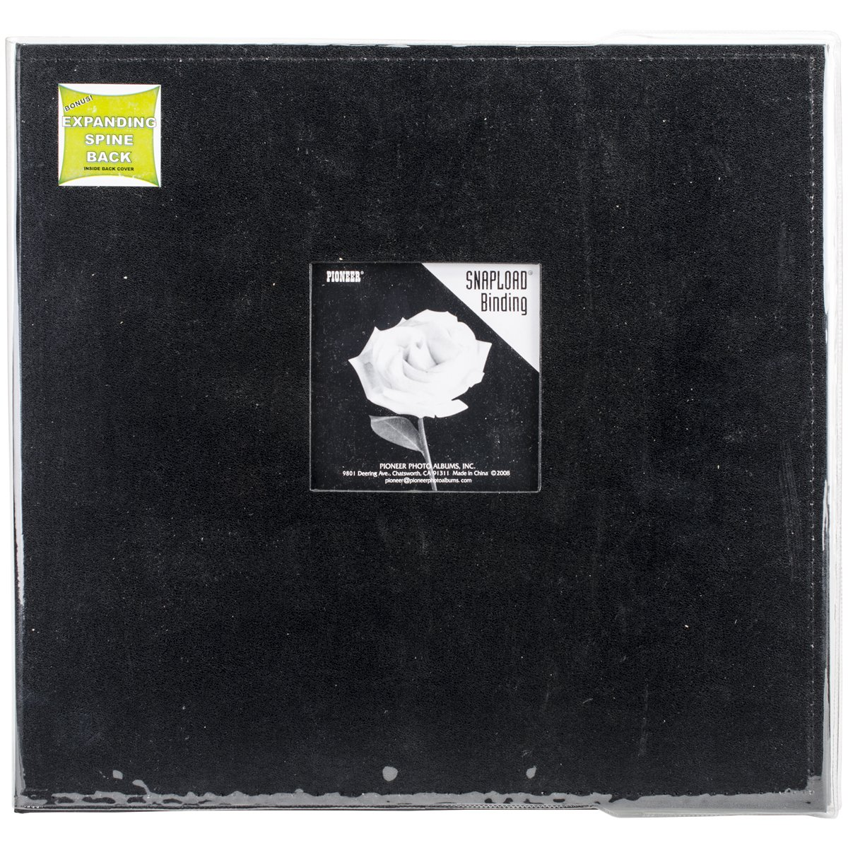 Pioneer 12 Inch by 12 Inch Snapload Sewn Leatherette Frame Cover Memory Book, Black
