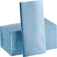 Baby Blue Paper Napkins | Linen Feel Guest Disposable Cloth Like Dinner Napkins | Hand Towels | Soft, Absorbent, Paper…