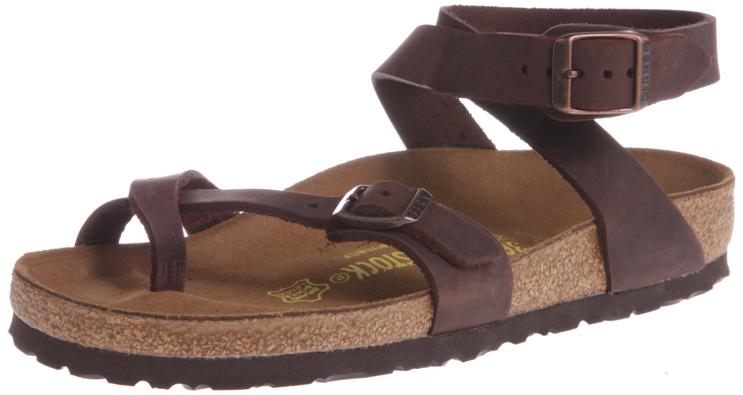 Birkenstock Women's Yara Leather Ankle-Strap Sandal,Habana,39 EU/8 M US