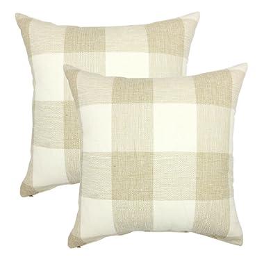 YOUR SMILE Retro Farmhouse Tartan Checkers Plaid Cotton Linen Decorative Throw Pillow Case Cushion Cover Pillowcase Sofa 18 x 18 Inch, Set of 2, Beige/White