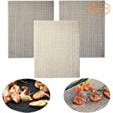 Best BBQ Grill Mat - (Set of 3) Extra Large Non-Stick Grill Mats - PFOA Free Grill Mesh Tray for Grilled Vegetables, Fish, Fajitas,Shrimp Vegetable Grill Basket