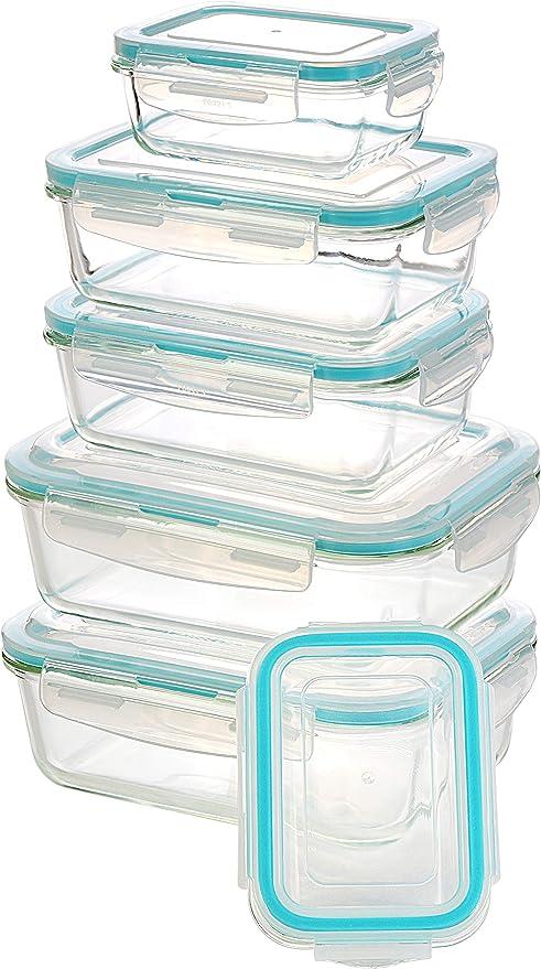 9 envases + 9 tapas Contenedor de Almacenamiento de Alimentos de Vidrio por Utopia Kitchen Sin BPA Para la Cocina o el Restaurante de Uso Dom/éstico Recipiente Tapas transparentes 18 piezas