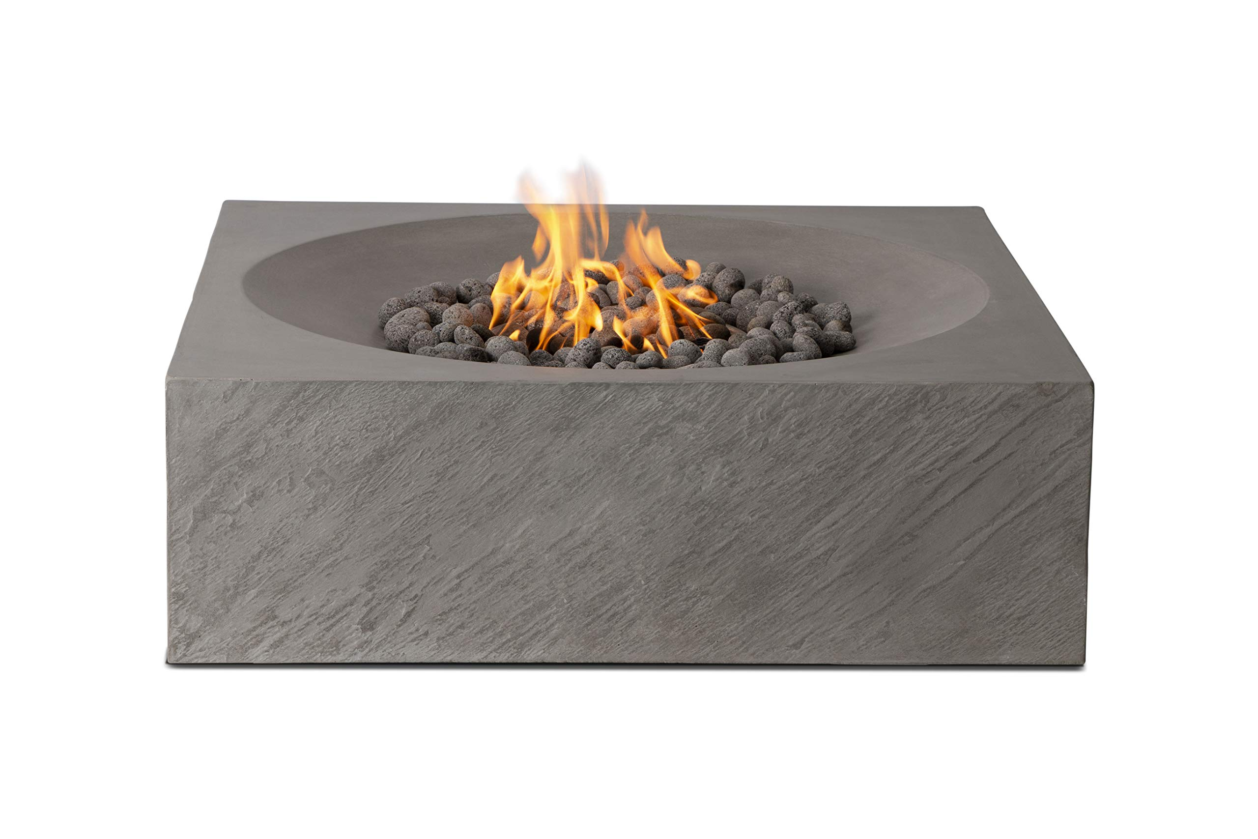 Pyromania Paloma Outdoor Fire Pit Table. Hand Crafted from Concrete. 60,000 BTU Stainless Steel Burner with Electronic Ignition - Natural Gas Model, Slate Color (Lava Rock Included) by Pyromania