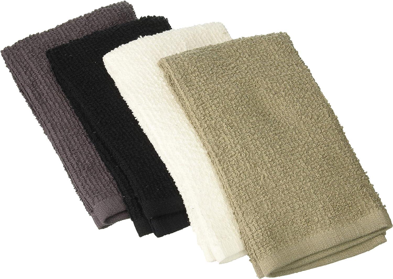 J & M HOME FASHIONS 3556 4PK GRY Bar Mop Towel
