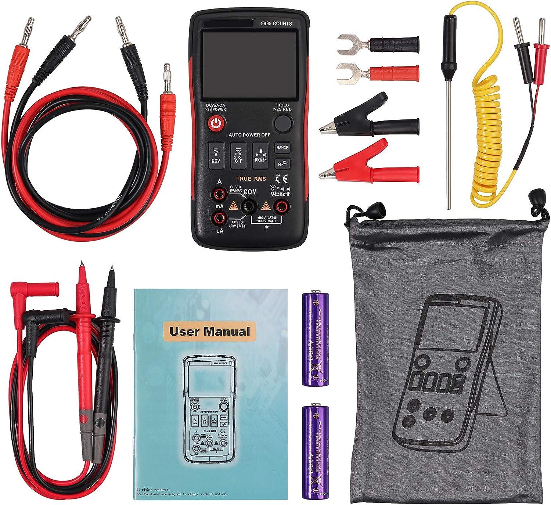 Multimetro Digital 9999 cuentas TRMS Polimetro Profesional Dise/ño de Bot/ón Pantalla Con Luz Medidor de NCV Voltaje Corriente CA CC Capacitancia Resistencia Temperatura con Sondas y Termopar