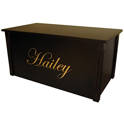 Wood Toy Box, Large Espresso Toy Chest, Personalized Edwardian Font, Custom Options (Standard Base - Gold Lettering): Toys & Games