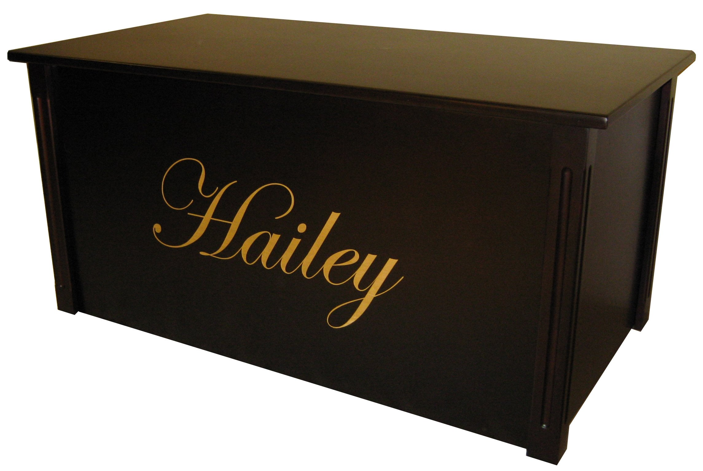 Wood Toy Box, Large Espresso Toy Chest, Personalized Edwardian Font, Custom Options (Cedar Base - Gold Lettering)