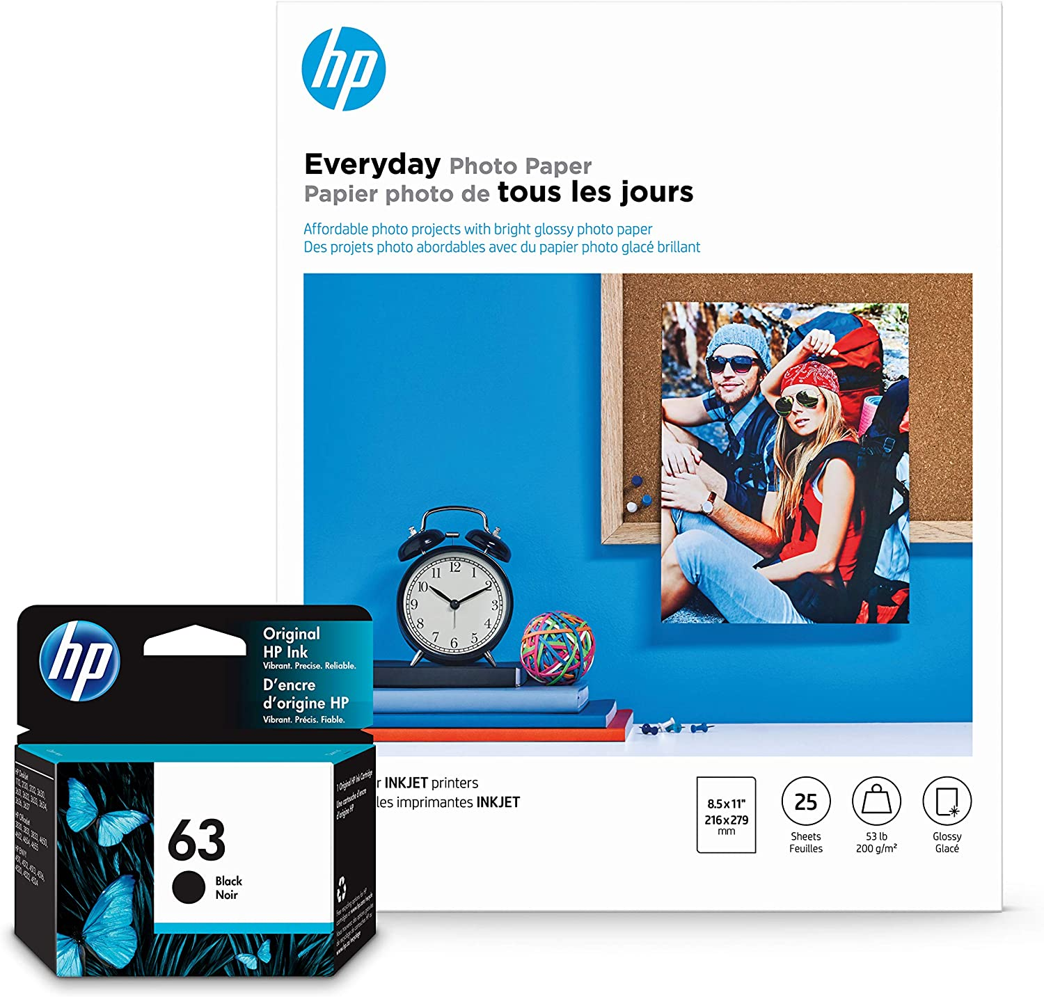 HP 63 Black Ink + HP Everyday Photo Paper, Glossy, 25 Sheets, 8.5x11