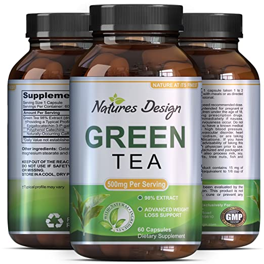 Natures Design Green Tea Weight Loss Pills with Detox Cleanse, Burn Belly Fat and Lose Weight Naturally Fast a Dietary Supplement with Pure Extract for Men and Women, Pre Workout and Natural Energy