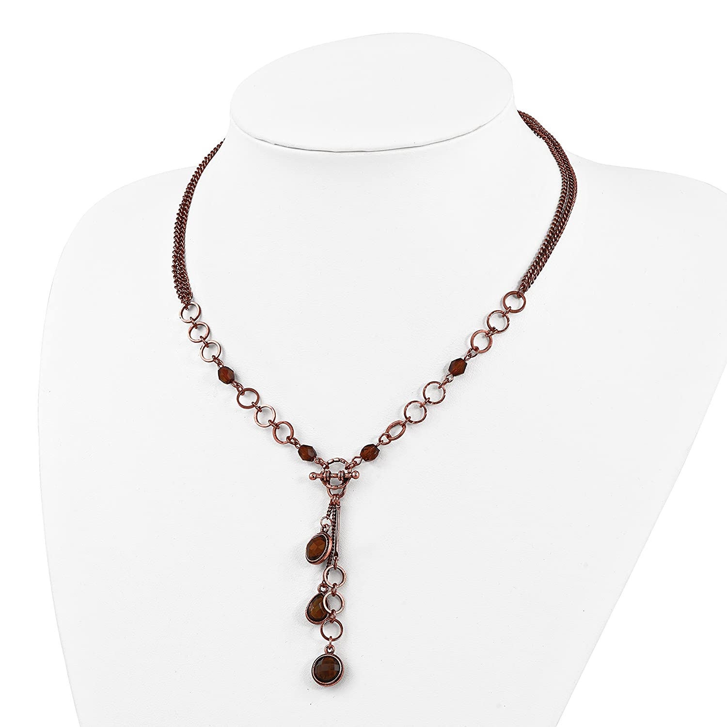 1928 Jewelry Copper-Tone Brown Acrylic Beads 16in w//ext Y Necklace