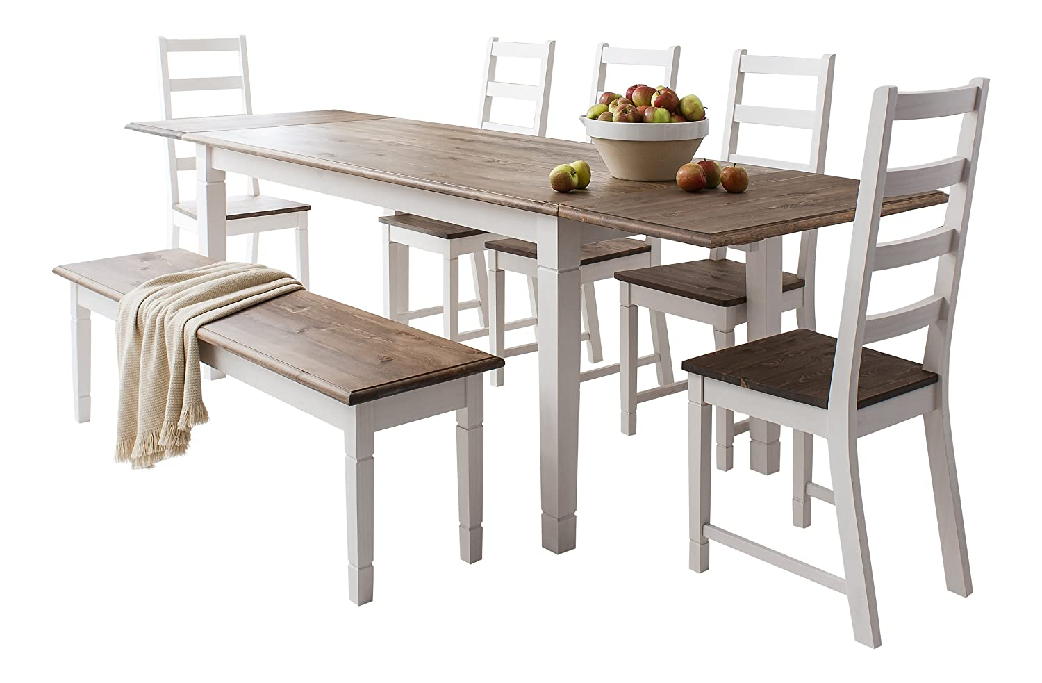 Table And 5 Chairs And Bench Canterbury Extending Dining Table With 2x  Extension: Amazon.co.uk: Kitchen U0026 Home