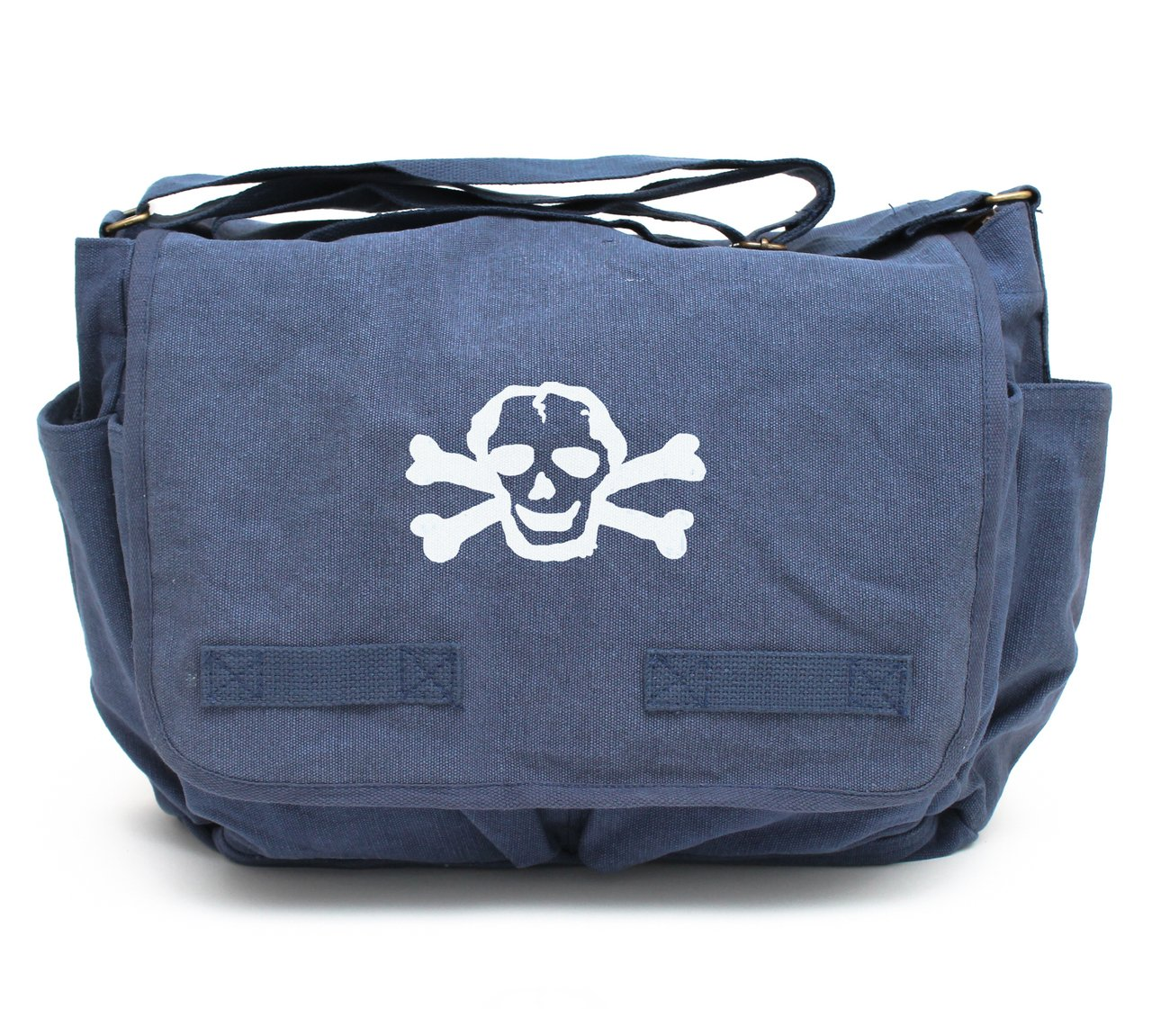 Heavyweight Canvas Messenger Bag Carry-All Diaper Bag, Blue with White Scribble Skull